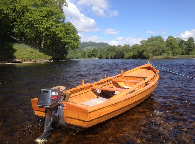 On the bigger Scottish salmon rivers traditional boats are used to cover far distant salmon lies that would be more difficult to effectively fish over from the riverbank.
