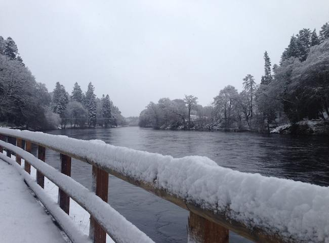 Snow Falls On The River Tay