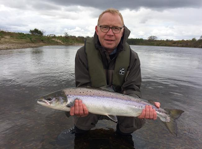 There's nothing that beats the excitement of catching a fresh run Scottish Spring salmon on the fly during the early months of the salmon fishing season. This perfect fish was one such example that took the fly within a few feet of the riverbank in the high water conditions of early Spring.