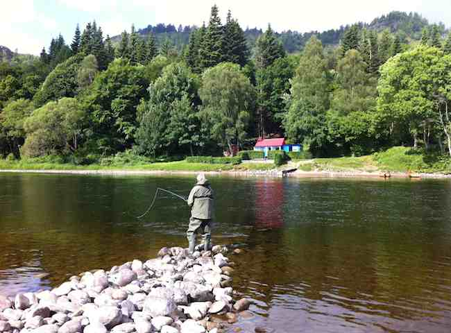 This is a perfect Summer Salmon Fishing Scene From The Middle River Tay